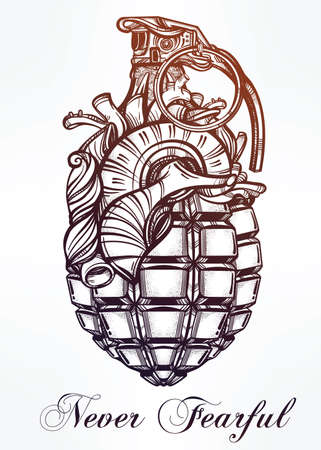 hand grenade: Hand drawn retro Heart of Grenade drawing in vintage style. Ornate detailed tattoo design element. Vector illustration isolated. Cards, t-shirts, scrap-booking, print concept art.