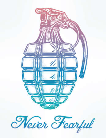 hand grenade: Hand drawn retro Hand Grenade drawing in vintage style. Ornate detailed tattoo design element. Vector illustration isolated. Cards, t-shirts, scrap-booking, print concept art.