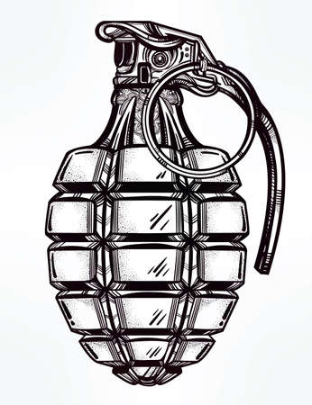 tattoo vector: Hand drawn retro Hand Grenade drawing in vintage style. Ornate detailed tattoo design element. Vector illustration isolated. Cards, t-shirts, scrap-booking, print concept art.