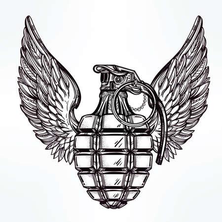 soldado: Dibujado a mano retro granada de mano dibujo con alas en el estilo vintage. Adornado elemento de diseño del tatuaje detallada. Ilustración vectorial aislado. Tarjetas, camisetas, desecho-reservación, el concepto de impresión de arte.