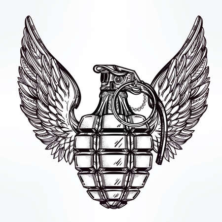 gangster: Hand drawn retro Hand Grenade drawing with wings in vintage style. Ornate detailed tattoo design element. Vector illustration isolated. Cards, t-shirts, scrap-booking, print concept art.