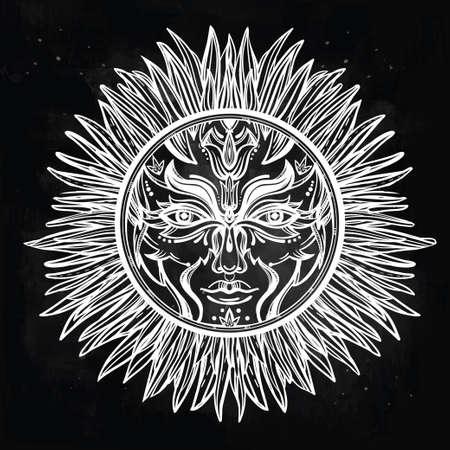 pagan: Ornate romantic pagan sun symbol . Invitation elements. Tattoo design. Isolated vector illustration. Alchemy, astrology and magic.