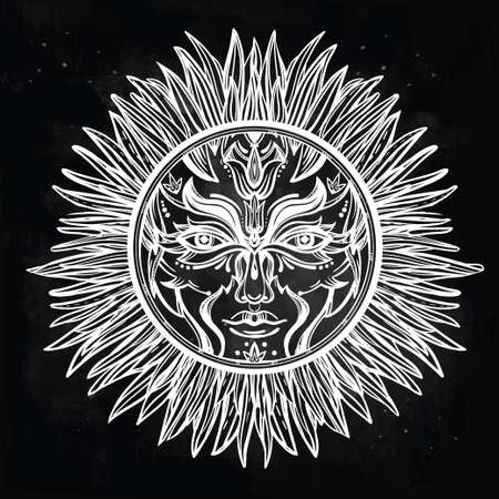 Ornate romantic pagan sun symbol . Invitation elements. Tattoo design. Isolated vector illustration. Alchemy, astrology and magic.