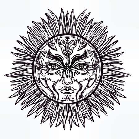 alquimia: Adornado romántico símbolo pagano sol. Elementos de invitación. Diseño de tatuaje. Ilustración vectorial aislado. La alquimia, la astrología y la magia.