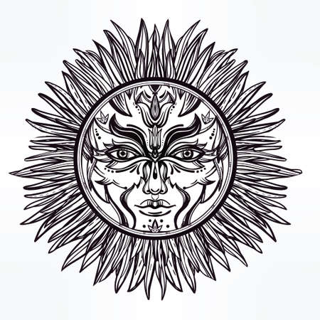 pagan: Ornate romantic pagan sun symbol . Invitation elements. Tattoo design. Isolated vector illustration. Alchemy, astrology and magic.