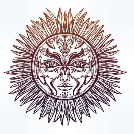 alchemy: Adornado romántico símbolo pagano sol. Elementos de invitación. Diseño de tatuaje. Ilustración vectorial aislado. La alquimia, la astrología y la magia.