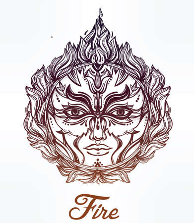 flames background: Beautiful romantic Fire Spirit symbol surrounded with fire flames. Fire Element of nature 4 elements collection. Tattoo design. Isolated vector illustration. Alchemy, spirituality, magic, cards.