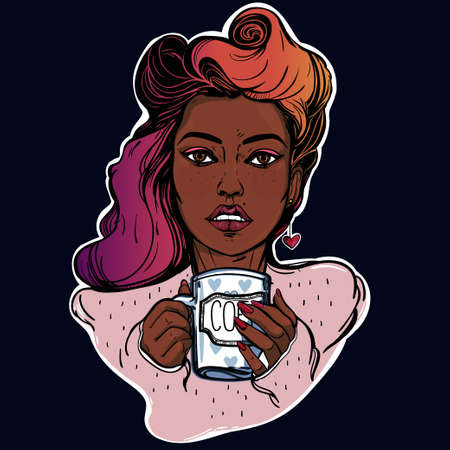 hair pins: Beautiful pin-up girl with a cup. Vector illustration. Hand drawn design .Coffee delights. Template. Hipster style lady with beautiful bright hair.