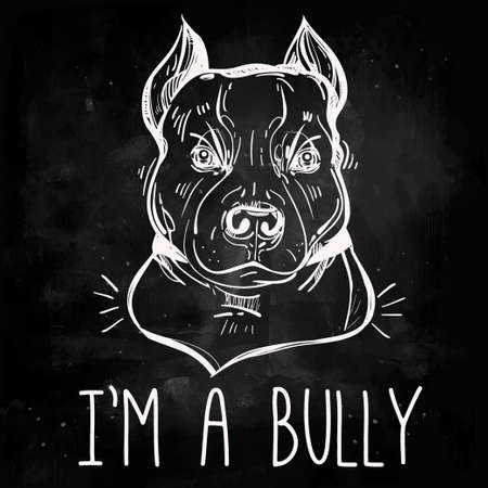 watchdog: Vector Illustration of Pit Bull Terrier bulldog, funny slogan. Loyal dog buddy friend. Sketchy line art illustration isolated on watercolor grunge background. Character tattoo design for dog lovers. Illustration