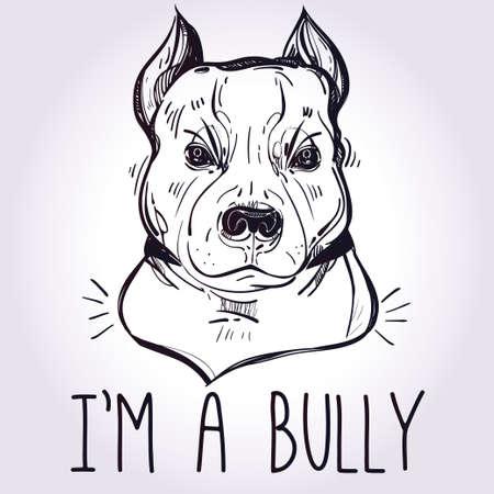 toro: Ilustración del vector de bulldog Pit Bull Terrier, lema divertido. amigo compañero perro fiel. Ilustración incompleta de la línea arte aislado en el fondo del grunge de la acuarela. diseño del tatuaje de caracteres para los amantes del perro. Vectores