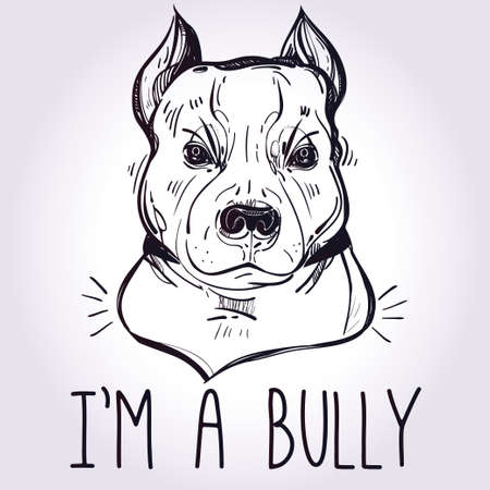 black and white pit bull: Vector Illustration of Pit Bull Terrier bulldog, funny slogan. Loyal dog buddy friend. Sketchy line art illustration isolated on watercolor grunge background. Character tattoo design for dog lovers. Illustration