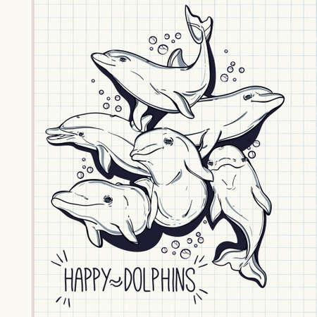 delfin: Zabawy Happy piękne skoki butelki nosa morskie delfiny w grupie. Ilustracja wektora samodzielnie. Letnie zabawy, surfing i elementy akwarium.