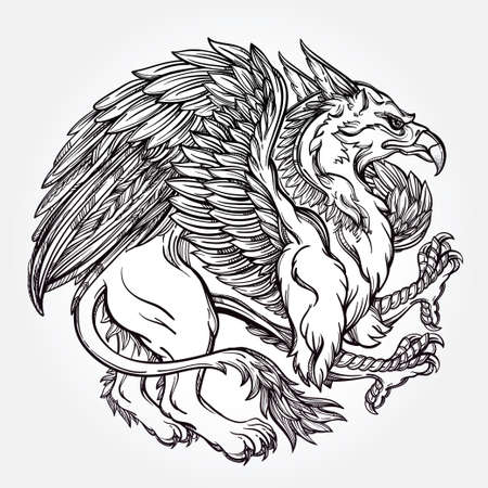hand drawn wings: Hand drawn vintage Griffin, mythological magic winged beast. Victorian motif, tattoo design element. Heraldry and logo concept art. Isolated vector illustration in line art style.