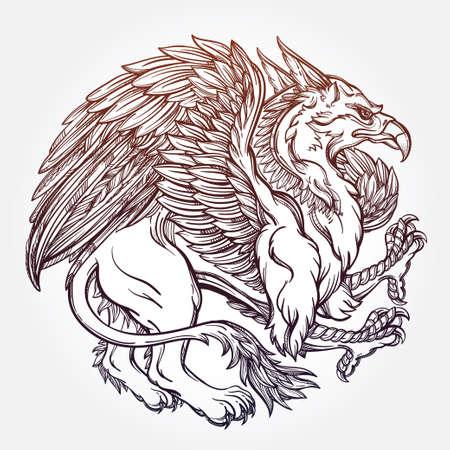 leon con alas: Dibujado a mano vendimia Griffin, bestia mitológica con alas magia. con motivos de estilo victoriano, tatuaje elemento de diseño. Heráldica y el arte conceptual. ilustración vectorial aislados en el estilo de la línea de arte.