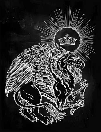 crown of light: Hand drawn vintage Griffin, mythological magic winged beast with crown. Victorian motif, tattoo design element. Heraldry and concept art. Isolated vector illustration in line art style.