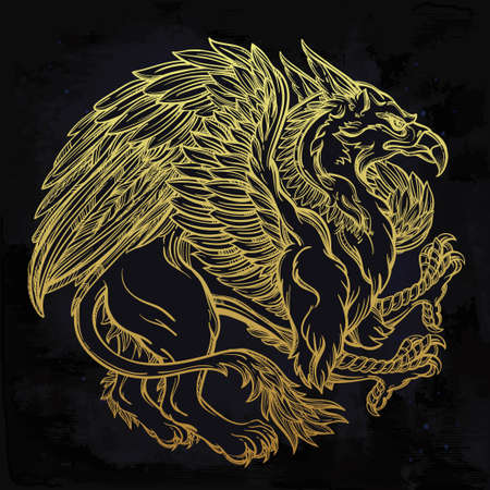 golden eagle: Hand drawn vintage Griffin, mythological magic winged beast. Victorian motif, tattoo design element. Heraldry and concept art. Isolated vector illustration in line art style.