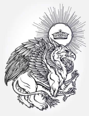 leon con alas: Dibujado a mano vendimia Griffin, mitológica bestia alada magia con corona. Motivo victoriana, tatuaje elemento de diseño. Heráldica y arte conceptual. Ilustración vectorial aislados en la línea estilo del arte. Vectores