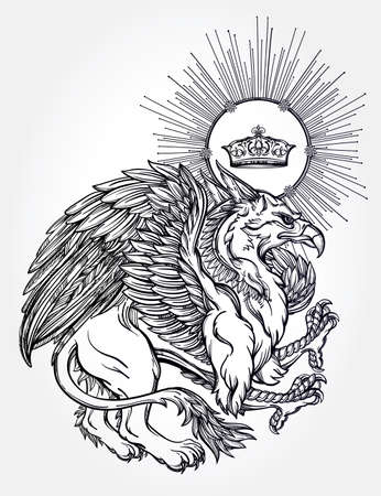 gryphon: Hand drawn vintage Griffin, mythological magic winged beast with crown. Victorian motif, tattoo design element. Heraldry and concept art. Isolated vector illustration in line art style.