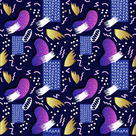 wallpaper: Seamless abstract geometric pattern in retro 1980s and early 1990 s style. Retro memphis designs for textiles and fabrics, upholstery, wrapping paper and wallpapers of all kinds. Vector illustration.