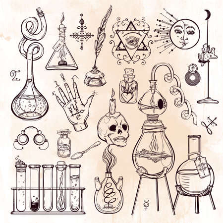 Set of trendy vector Alchemy symbols collection. Design and tattoo elements.Vector illustration.
