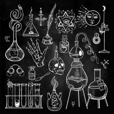 química: Conjunto de trendy vector Alquimia colección símbolos. Diseño y tatuaje elements.Vector ilustración. Vectores