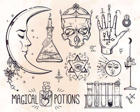 pocima: Conjunto de trendy vector Alquimia colección símbolos. Diseño y tatuaje elements.Vector ilustración. Vectores