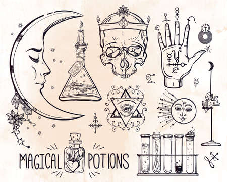 magic potion: Set of trendy vector Alchemy symbols collection. Design and tattoo elements.Vector illustration.