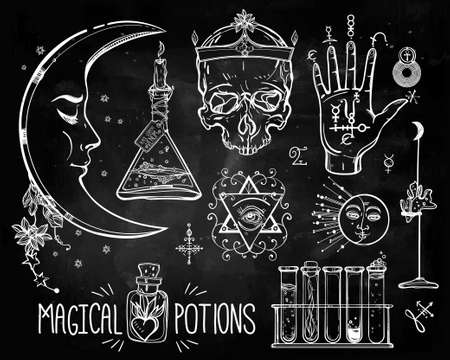 pocion: Conjunto de trendy vector Alquimia colección símbolos. Diseño y tatuaje elements.Vector ilustración. Vectores