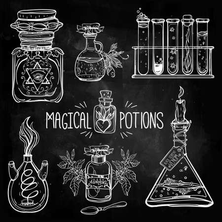 science: Set of beautiful ornate potion bottles. Design and tattoo elements. Vector illustration. Illustration