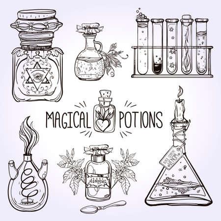 pócima: Conjunto de botellas de pociones adornadas hermosas. Diseño y tatuaje elementos. Ilustración del vector.