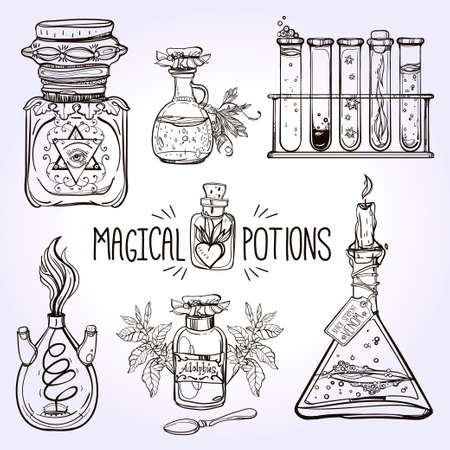 medieval medicine: Set of beautiful ornate potion bottles. Design and tattoo elements. Vector illustration. Illustration