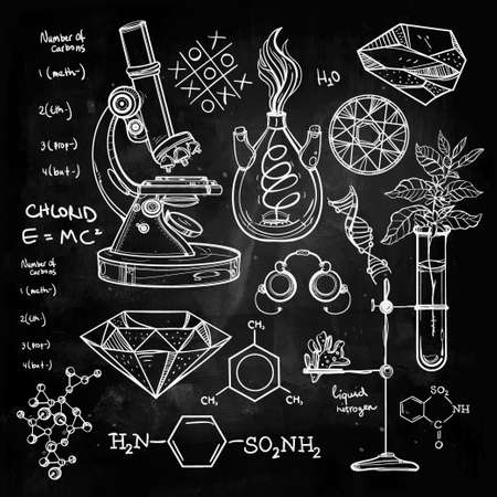 pizarron: Ciencia Iconos drenados laboratorio del vintage hermoso Dé el bosquejo establecen. Ilustración del vector. Regreso a la escuela. Laboratorio Doodle equipment.Biology, la alquimia geología, la química, la magia, los elementos del tatuaje.