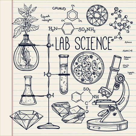 experiments: Hand drawn science beautiful vintage lab icons sketch set . Vector illustration. Back to School. Doodle lab equipment.Biology, geology alchemy, chemistry, magic, tattoo elements.