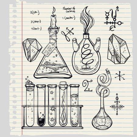 laboratorio: Ciencia Iconos drenados laboratorio del vintage hermoso Dé el bosquejo establecen. Ilustración del vector. Regreso a la escuela. Laboratorio Doodle equipment.Biology, la alquimia geología, la química, la magia, los elementos del tatuaje.