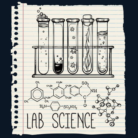 equipment experiment: Hand drawn science beautiful vintage lab icons sketch set . Vector illustration. Back to School. Doodle lab equipment.Biology, geology alchemy, chemistry, magic, tattoo elements.