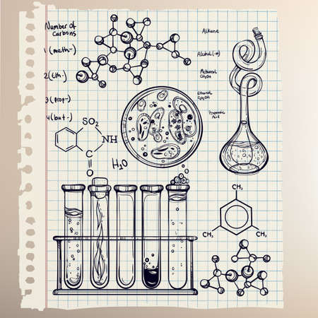 research paper: Hand drawn science beautiful vintage lab icons sketch set . Vector illustration. Back to School. Doodle lab equipment.Biology, geology alchemy, chemistry, magic, tattoo elements.
