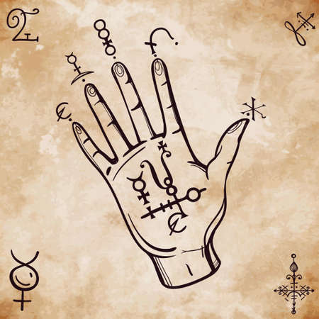 occult: Hand drawn vintage fortune teller hand sketch with spell elements . Isolated vector illustration. Science, magic objects doodle style, Alchemy vintage medieval science. Tattoo template