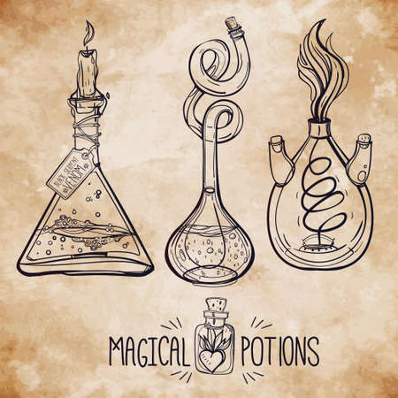 alchemical: Hand drawn vintage alchemical laboratory icon. Vector illustration. Science lab objects doodle style sketch, magical element. Alchemy and vintage medieval science. Illustration