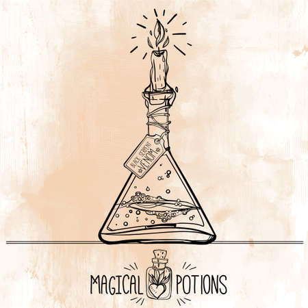 medieval medicine: Hand drawn vintage alchemical laboratory icon. Vector illustration. Science lab objects doodle style sketch, magical element. Alchemy and vintage medieval science. Illustration