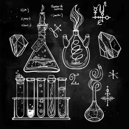 blackboard: Ciencia Iconos drenados laboratorio del vintage hermoso Dé el bosquejo establecen. Ilustración del vector. Regreso a la escuela. Laboratorio Doodle equipment.Biology, la alquimia geología, la química, la magia, los elementos del tatuaje.