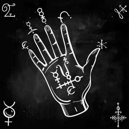 medieval: Hand drawn vintage fortune teller hand sketch with spell elements . Isolated vector illustration. Science, magic objects doodle style, Alchemy vintage medieval science. Tattoo template