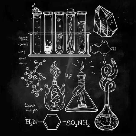 alquimia: Ciencia Iconos drenados laboratorio del vintage hermoso Dé el bosquejo establecen. Ilustración del vector. Regreso a la escuela. Laboratorio Doodle equipment.Biology, la alquimia geología, la química, la magia, los elementos del tatuaje.