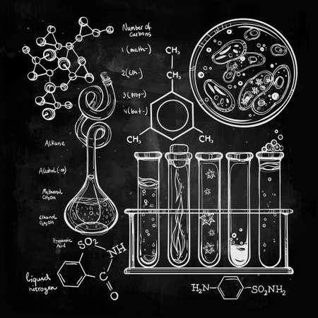 quimica: Ciencia Iconos drenados laboratorio del vintage hermoso D� el bosquejo establecen. Ilustraci�n del vector. Regreso a la escuela. Laboratorio Doodle equipment.Biology, la alquimia geolog�a, la qu�mica, la magia, los elementos del tatuaje.