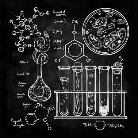 blackboard background: Hand drawn science beautiful vintage lab icons sketch set . Vector illustration. Back to School. Doodle lab equipment.Biology, geology alchemy, chemistry, magic, tattoo elements.