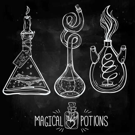 drawing paper: Hand drawn vintage alchemical laboratory icon. Vector illustration. Science lab objects doodle style sketch, magical element. Alchemy and vintage medieval science. Illustration