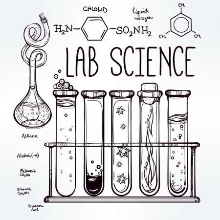 qu�mica: Ciencia Iconos drenados laboratorio del vintage hermoso D� el bosquejo establecen. Ilustraci�n del vector. Regreso a la escuela. Laboratorio Doodle equipment.Biology, la alquimia geolog�a, la qu�mica, la magia, los elementos del tatuaje.
