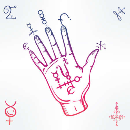 medieval medicine: Hand drawn vintage fortune teller hand sketch with spell elements . Isolated vector illustration. Science, magic objects doodle style, Alchemy vintage medieval science. Tattoo template