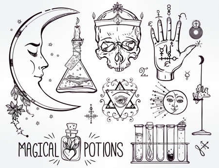 alchemist: Set of trendy vector Alchemy symbols collection. Design and tattoo elements.Vector illustration.