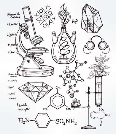 biology: Hand drawn science beautiful vintage lab icons sketch set . Vector illustration. Back to School. Doodle lab equipment.Biology, geology alchemy, chemistry, magic, tattoo elements.