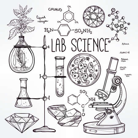 biologia: Ciencia Iconos drenados laboratorio del vintage hermoso Dé el bosquejo establecen. Ilustración del vector. Regreso a la escuela. Laboratorio Doodle equipment.Biology, la alquimia geología, la química, la magia, los elementos del tatuaje.